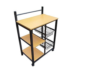 GTU Furniture Home Kitchen Microwave Metal Shelf Organizer Utility Rolling Storage Cart (Black/Natural)