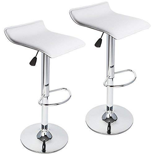 GTU Furniture Set of 2 Contemporary Faux Leather Adjustable Height Barstool with Chrome Base (White)