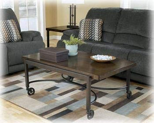 GTU Furniture Espresso Coffee Table w/Moving Wheels