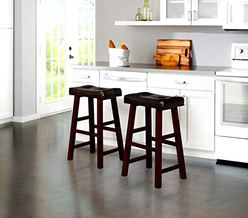 GTU Furniture Set of 2 Bonded Leather Backless Counter Stool