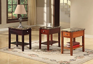 GTU Furniture Faux Marble Top Drawer Wood Side/End Table in 3 Colors