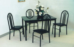 GTU Furniture 5Pc Faux Marble Black Table Top Dining Room Set