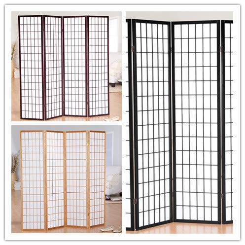 GTU Furniture Japanese Style 4 Panels Wood Shoji Room Divider Screen Oriental for Home/Office