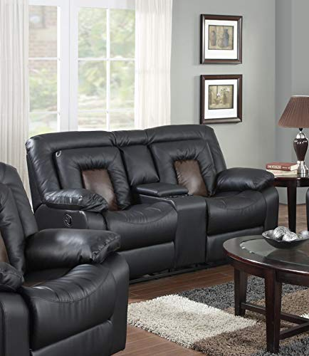 GTU Furniture Cobra Bonded Leather Reclining Sofa Loveseat Recliner Set, Luxurious Living Room Furniture