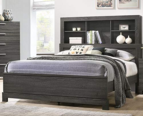 GTU Furniture Contemporary Bookcase headboard Bedroom Set (Grey)