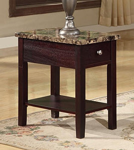 GTU Furniture Faux Marble Top Drawer Wood Side/End Table in 3 Colors (Cappuccino)