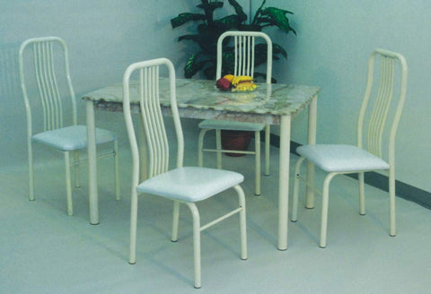 GTU Furniture 5Pc Faux Marble Almond Table Top Dining Room Set