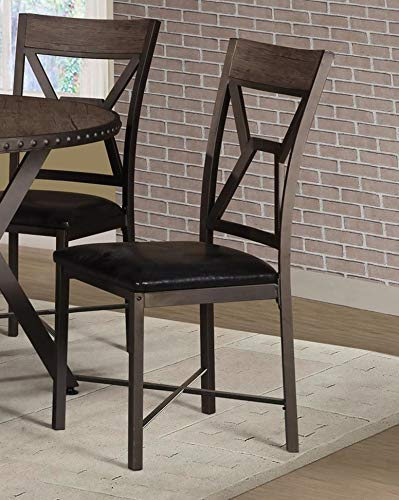 GTU Furniture 5Pc Round Top Rivets Base Wood & Metal Construction Dining Table & Chairs Set