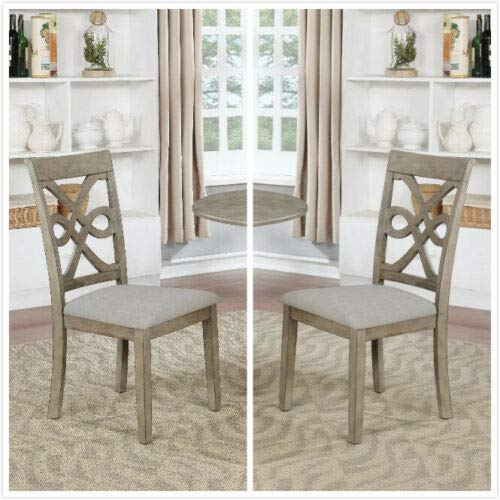 GTU Furniture Set of 2 Wood Dining Chair, Armless Chair Accent Solid Wood Modern Style in Grey