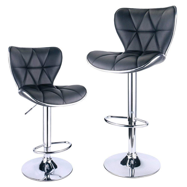 GTU Furniture Set of 2 Shell Back Adjustable Swivel Bar Stools, PU Leather Padded with Back