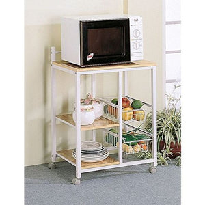 GTU Furniture Home Kitchen Microwave Metal Shelf Organizer Utility Rolling Storage Cart