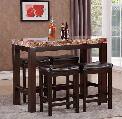 GTU Forniture Elegant Faux Marble High Top Kitchen Dining Room Bar Set/Barstool
