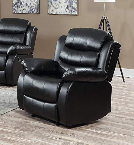 GTU Furniture Black Leather Recliner
