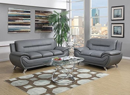 GTU Furniture Contemporary PU Leather Sofa & Loveseat Set, 2 Piece Sofa Set