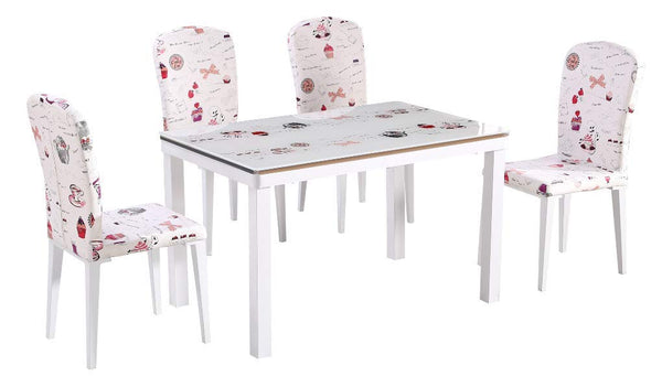 GTU Furniture 5 PCs Dining Set Script Hand Writng Glass Top Dining Table with 4 Matching Side Chairs