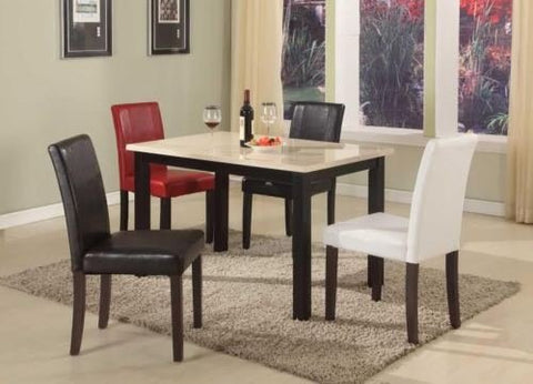 GTU Furniture Ivory/Black Faux Marble Top Dark Cappuccino Finish Dining Table