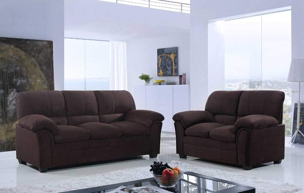 GTU Furniture 2Pc Chocolate Chenille Sofa & Loveseat Set