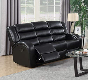 GTU Furniture Black Leather Reclining Sofa