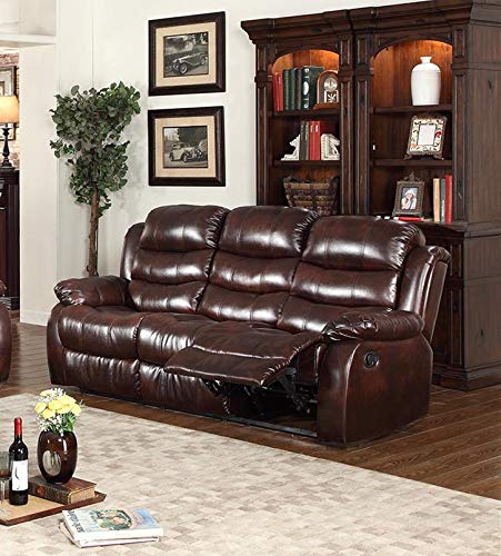 GTU Furniture Brown Leather Reclining Sofa