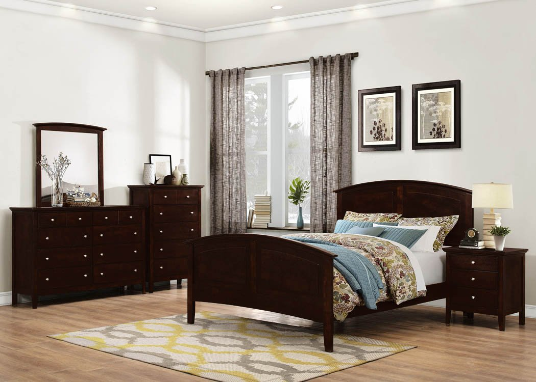 GTU Furniture 5Pc Queen Wood Panel Configurable Bedroom Set (Bed + Night Stand + Mirror + Dresser + Chest, Queen)