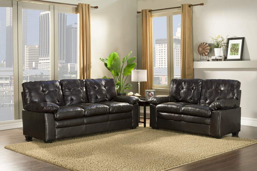 GTU Furniture 2Pc Black Pu Leather Sofa & Loveseat Set