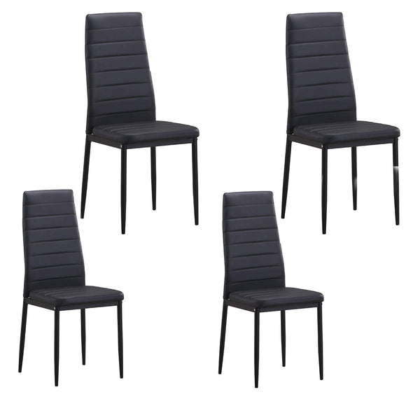 GTU Furniture Set of 4 PU Leather Dining Side Chairs with Padded Seat Foot Cap Protection Stable Frame Heavy Duty Elegant Ergonomically High Back Design for Kitchen Dining Room Home Furniture