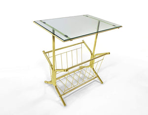 GTU Furniture Metal Magazine & Book Table - Underneath Storage - Gold/Black Finish Frame