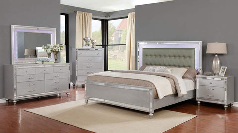 GTU Furniture Wooden Grey/Silver Queen/King Bedroom Set