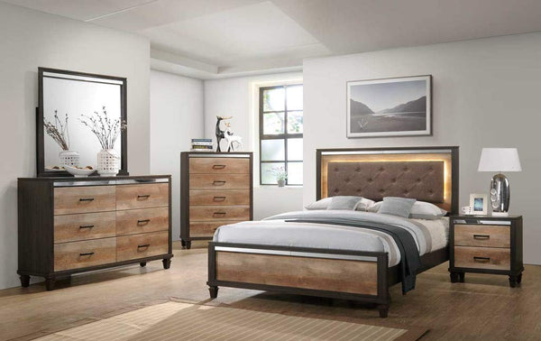 GTU Furniture Striking Two Tone Wooden Queen/King Bedroom Set