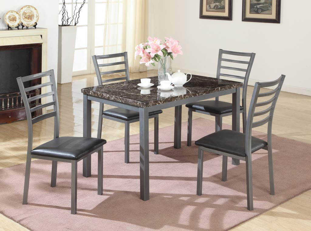 GTU Furniture 5Pc Transitional Style Faux Marble Dining Table Set