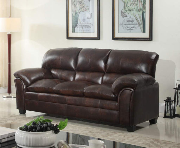 GTU Furniture Mahogany Brown/Black Sofa
