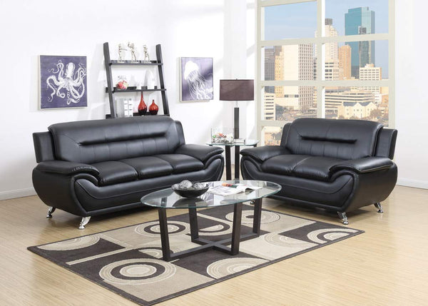 GTU Furniture 2Pc Black Sofa & Loveseat Set
