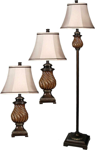 GTU Furniture Toffee Wood Multi Pack Set Includes 2 Table Lamps Floor Lamp Natural Linen Shade