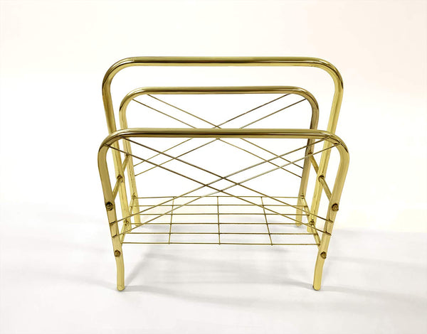 GTU Furniture Modern Brass Standing Book/Magazine Rack Holder