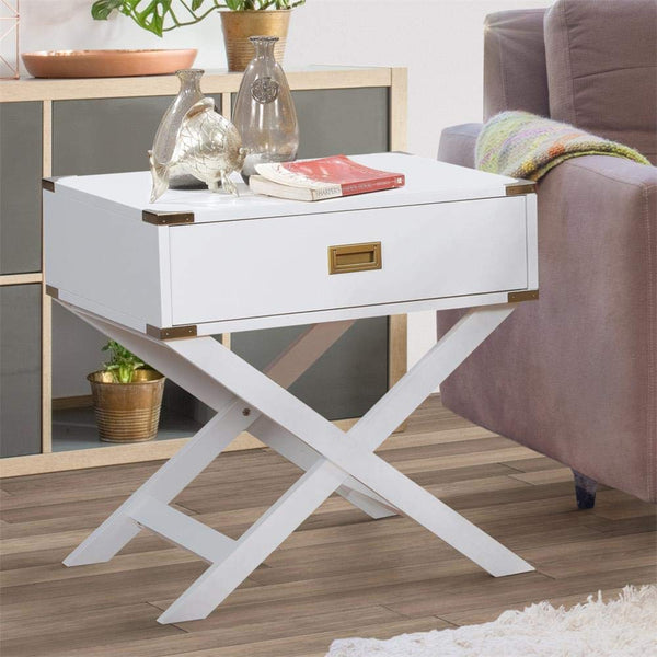 GTU Furniture X Base Wood Accent End Table