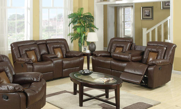 GTU Furniture Cobra Brown/Black Leather Sofa & Loveseat Set