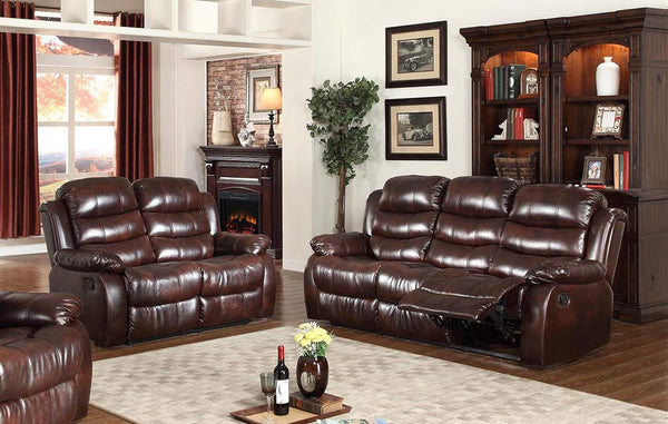 GTU Furniture Brown Leather Reclining Sofa & Loveseat Set