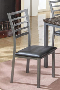 GTU Furniture Dining Chair Set of 4 Grey Ladder Back Metal Restaurant Chair