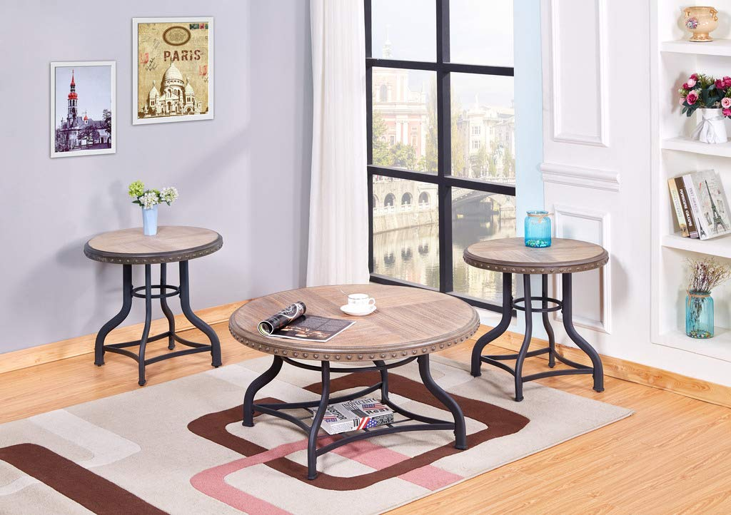 GTU Furniture Occassional Modern, Sophisticated, Industrial Glam, 3-Piece Round Accent Table Set with 1 Coffee Table, and 2 End Tables in a Brilliant Black Wood Finish, Mesitas para Sala