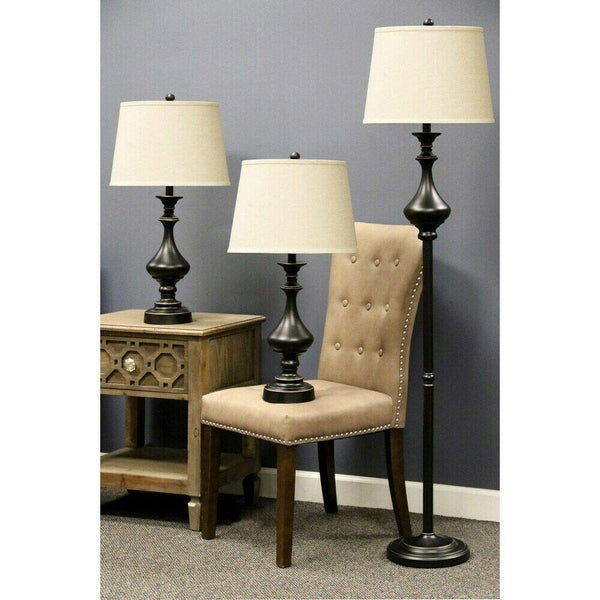 Stylecraft 2 Table & 1 Floor Madison Bronze Finish Metal Lamps with Beige Linen Drum Shades