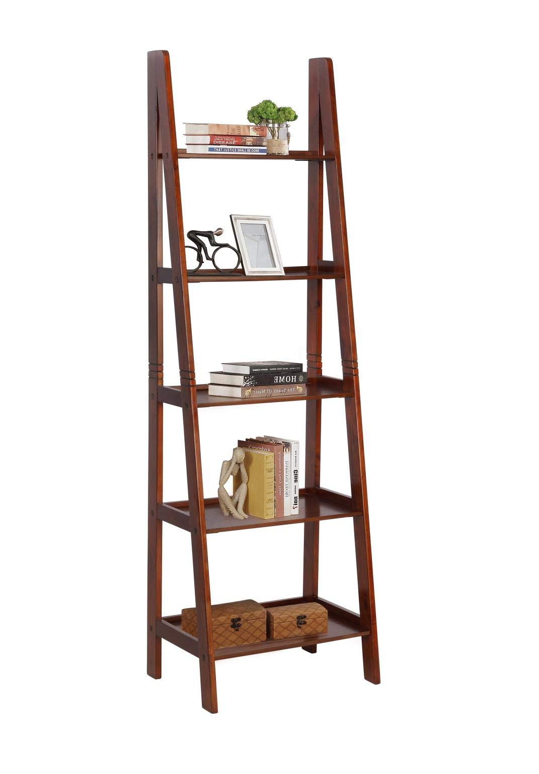GTU Furniture 5 Wall Shelf Ladder Dark Cherry Wood Bookcase Bookshelf Plant Stand Storage Display