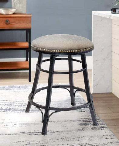 GTU Furniture Banco Bali Backless Gris Gun Metal Swivel Bar Stool/Counter Stool