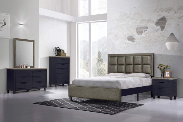 GTU Furniture Contemporary Styling Golden Queen Bedroom Set