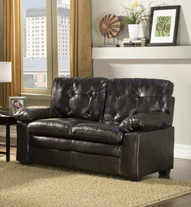 GTU Furniture Black Pu Leather Loveseat