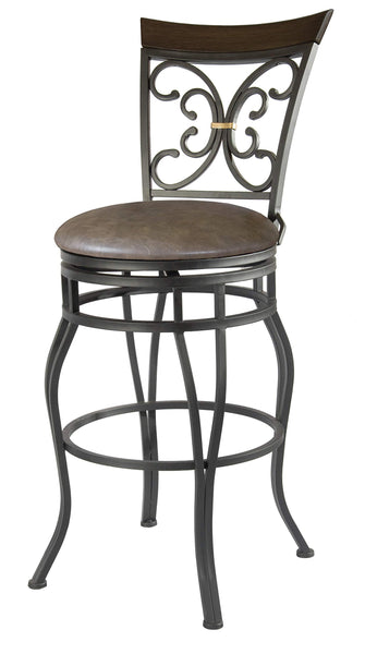 GTU Furniture Banco Elise Antique Brass Cabra Palermo Moka Swivel Bar Stool