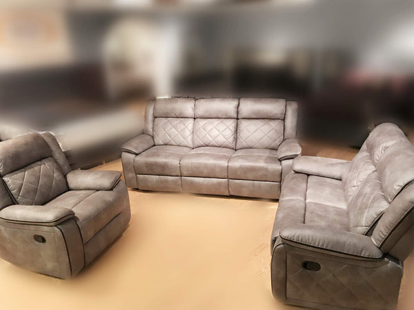GTU Furniture Double Reclining Sofa and Loveseat, Grey Polished Microfiber Living Furniture Set