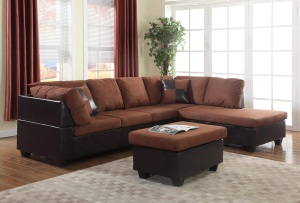 GTU Furniture Microfiber Sectional Couch Sofa Living Room Set, Chocolate Color