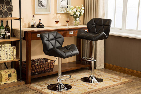 GTU Furniture Set of 2, 360 Degree Swivel Adjustable Bar Stools, Modern Faux Leather Padded with Back Pub Chair