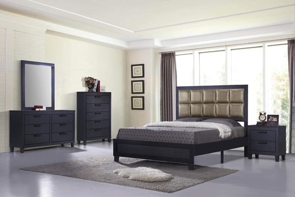 GTU Furniture Contemporary Styling Golden Black Queen Bedroom Set