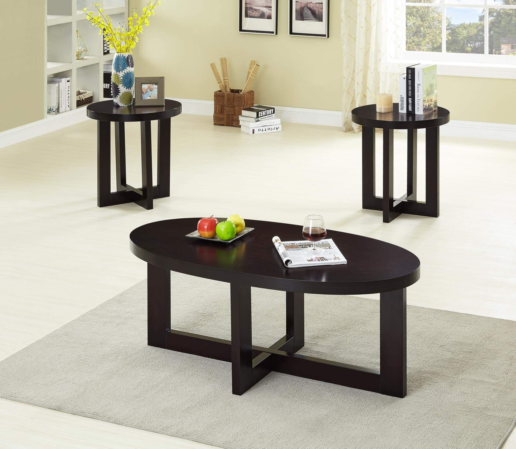 GTU Furniture Ocassional, Contemporary Modern, Transitional Oval Accent Table Set, 1 Coffee Table and 2 End Tables with a Dark Espresso Finish, Mesitas para Sala